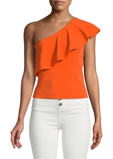 Milly One-Shoulder Flounce Blouse