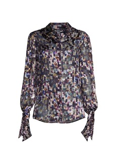 Milly Painted-Print Tie-Cuff Blouse