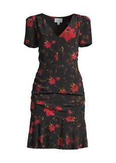 Milly Pam Burnished Floral Silk Sheath Dress