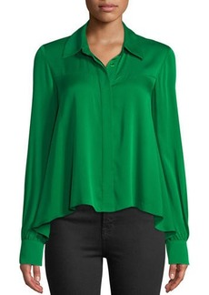 Milly Penelope Button-Front Long-Sleeve Silk-Stretch Top
