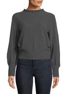 Milly Pintuck Shirred-Neck Long-Sleeve Pullover Sweater