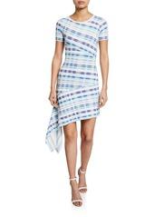 Milly Plaid Directional Draped Short-Sleeve Asymmetric Dress