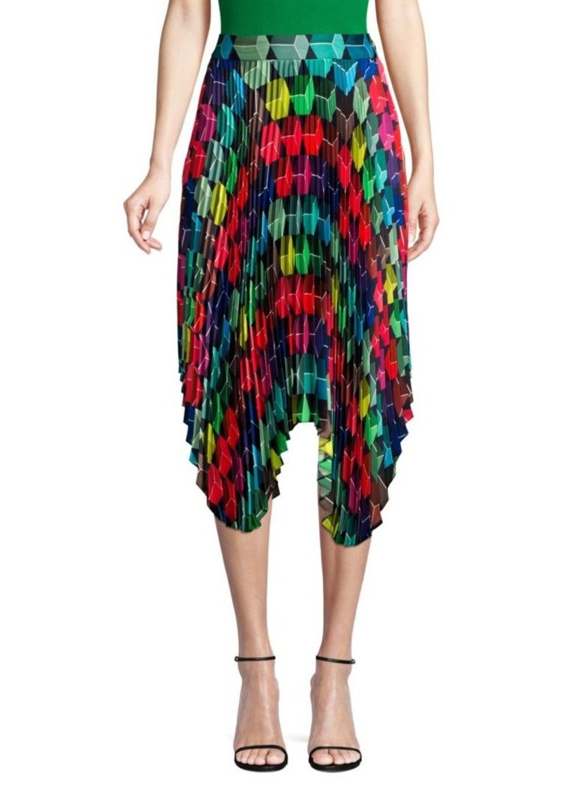 Milly Pleated Geo Print Skirt