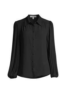 Milly Plissé Pleat-Sleeve Blouse