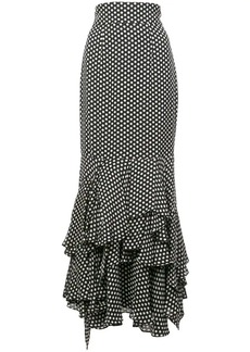 Milly polka dot fishtail skirt