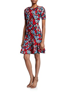 Milly Poppy Jacquard Short-Sleeve Fit-&-Flare Dress