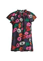 Milly Poppy Print Lurex Ruffle-Sleeve Top