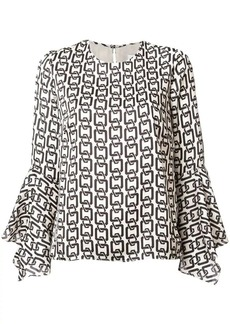 Milly printed flared sleeve blouse
