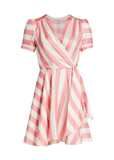 Milly Printed Striped Silk Wrap Dress