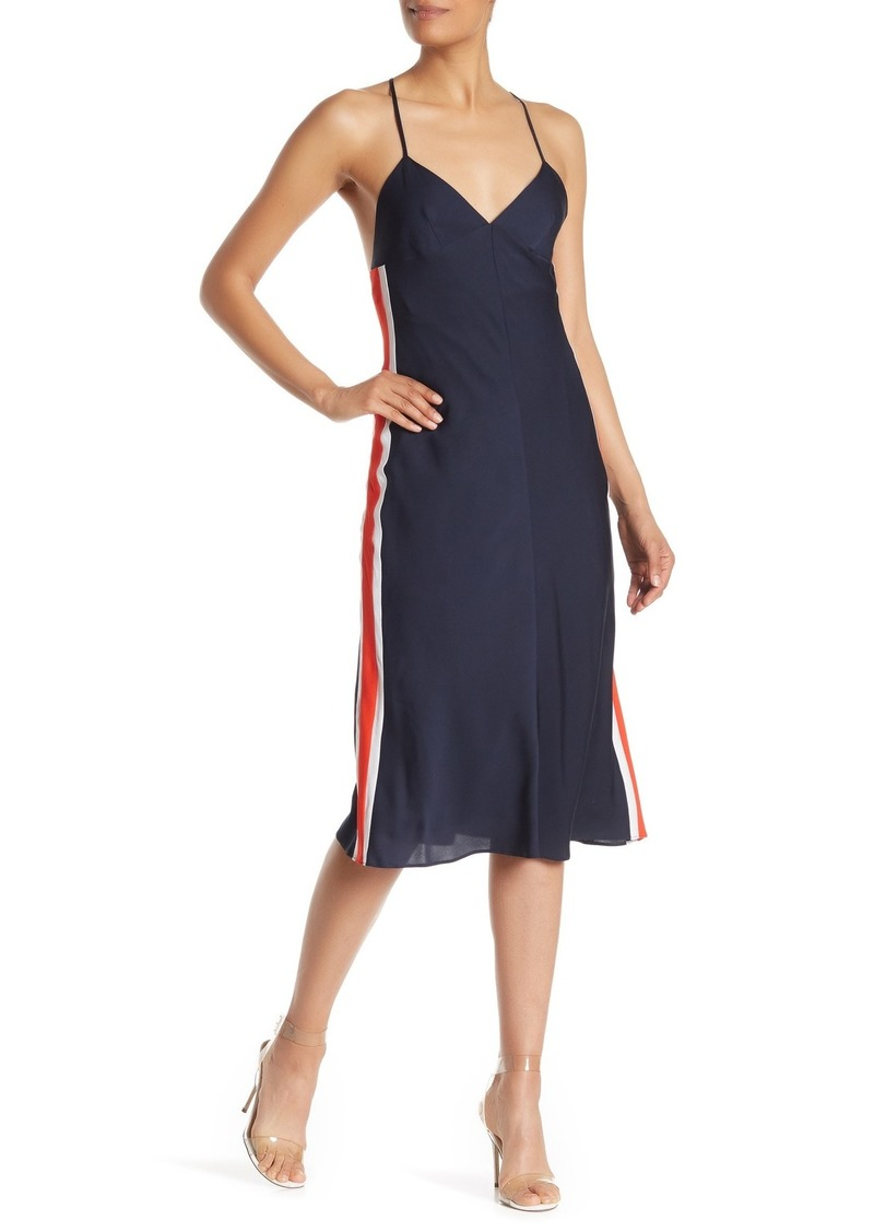 Milly Racer Stripe Silk Blend Slip Dress