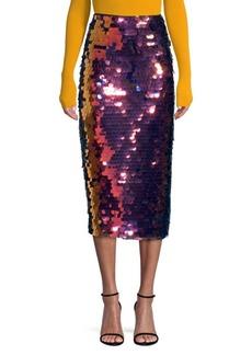 Milly Rainbow Sequin Pencil Skirt