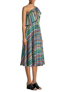 Milly Rainbow Stripe One-Shoulder Dress