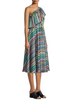 Milly Rainbow Stripe One-Shoulder Dress