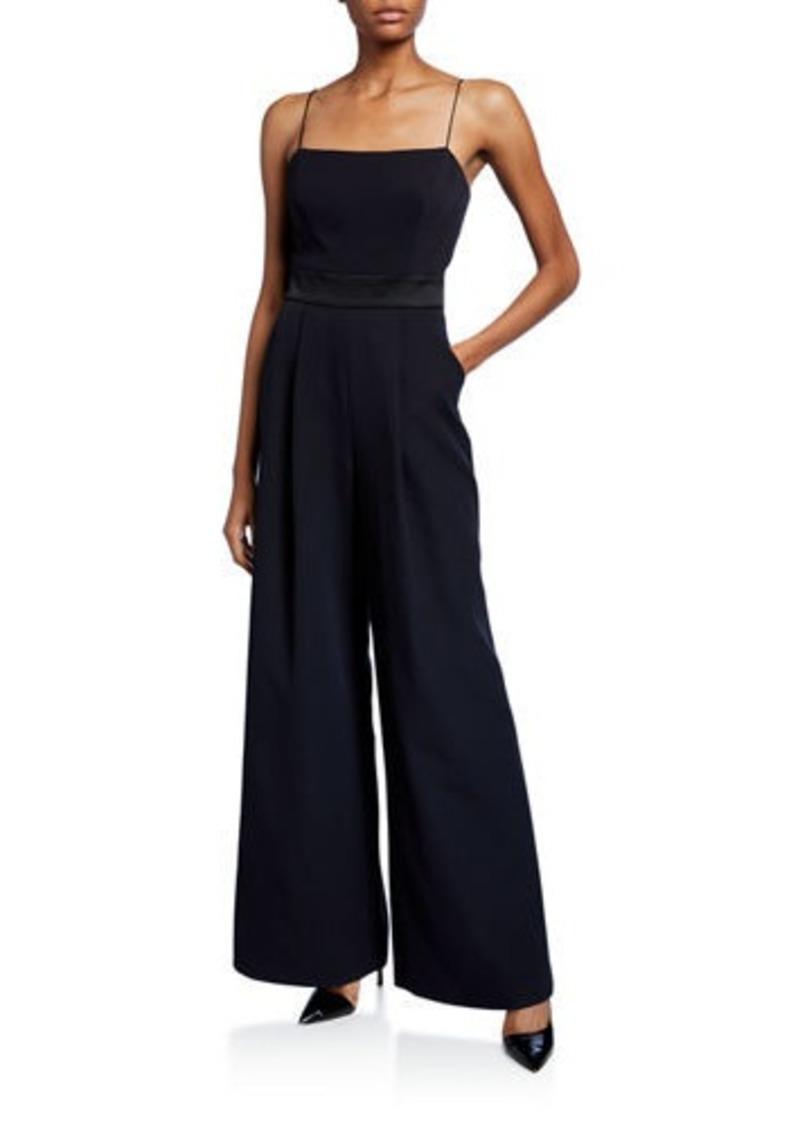 Milly Reina Sleeveless Tie-Back Wide-Leg Jumpsuit