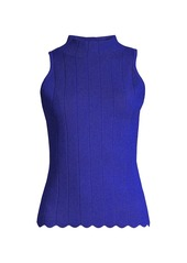 Milly Ribbed Scallop Top