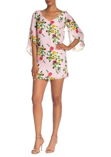 Milly Rose Print Flutter Sleeve Silk Dress