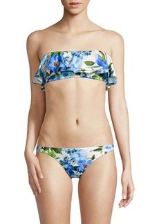 Milly Rose-Print Ruffle Bandeau Bikini Top