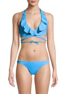 Milly Ruffle Wrap Bikini Top