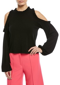 Milly Ruffled Cold-Shoulder Top