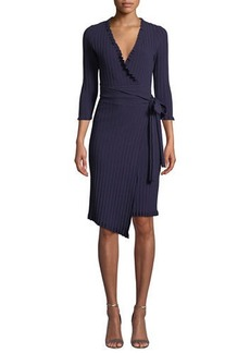 Milly Ruffled-Edge 3/4-Sleeve Wrap Dress
