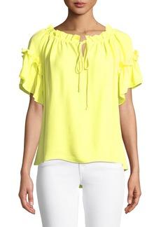 Milly Santorini Ruffle Short-Sleeve Top
