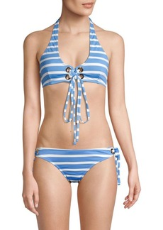 Milly Santorini Striped Grommet Halter Bikini Top
