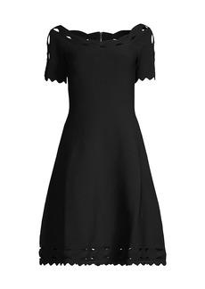 Milly Scallop Trim Knit A-Line Dress