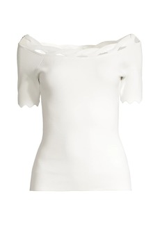 Milly Scallop Trim Knit Short-Sleeve Top