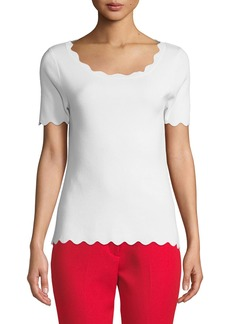 Milly Scalloped Ballet Pullover Top