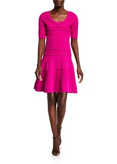 Milly Scoop-Neck Elbow-Sleeve Textured Tech Dress