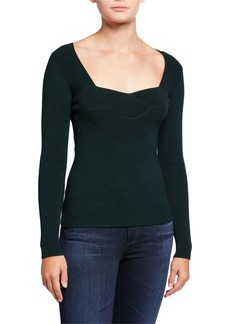 Milly Scoop-Neck Ottoman Sweater