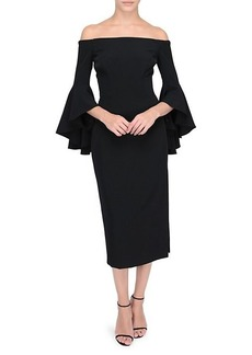 Milly Selena Off-The-Shoulder Trumpet-Sleeve Dress