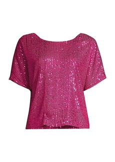 Milly Sequin Dolman-Sleeve Top