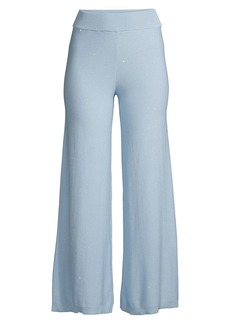 Milly Sequin Wide-Leg Cotton Trousers