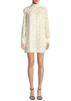 Milly Sherie Long-Sleeve Metallic Silk Chiffon Dress