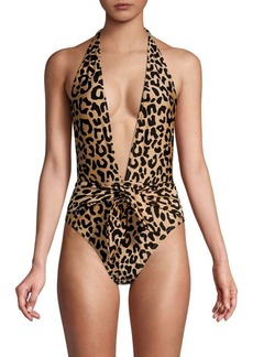 Milly Shimmer Leopard Print Wrap One-Piece Swimsuit