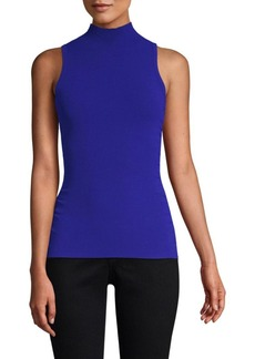 Milly Shirred Side Mockneck Sleeveless Top