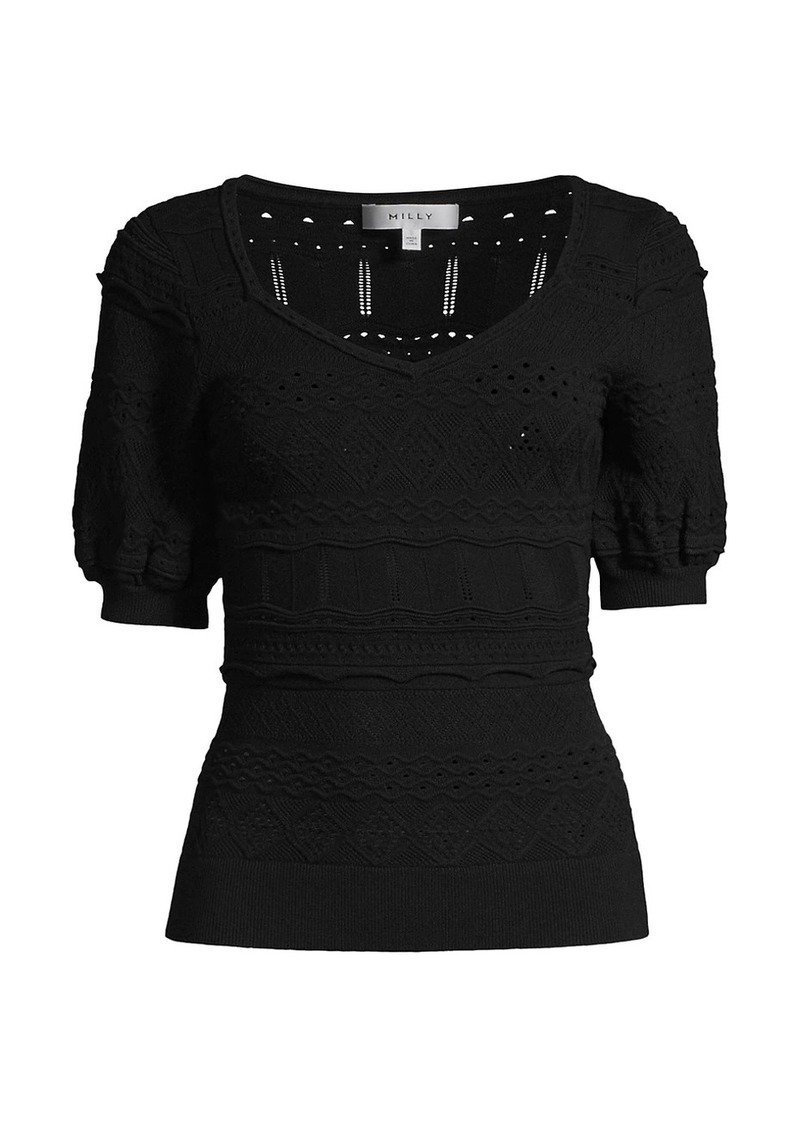 Milly Short-Sleeve Pointelle Knit Top