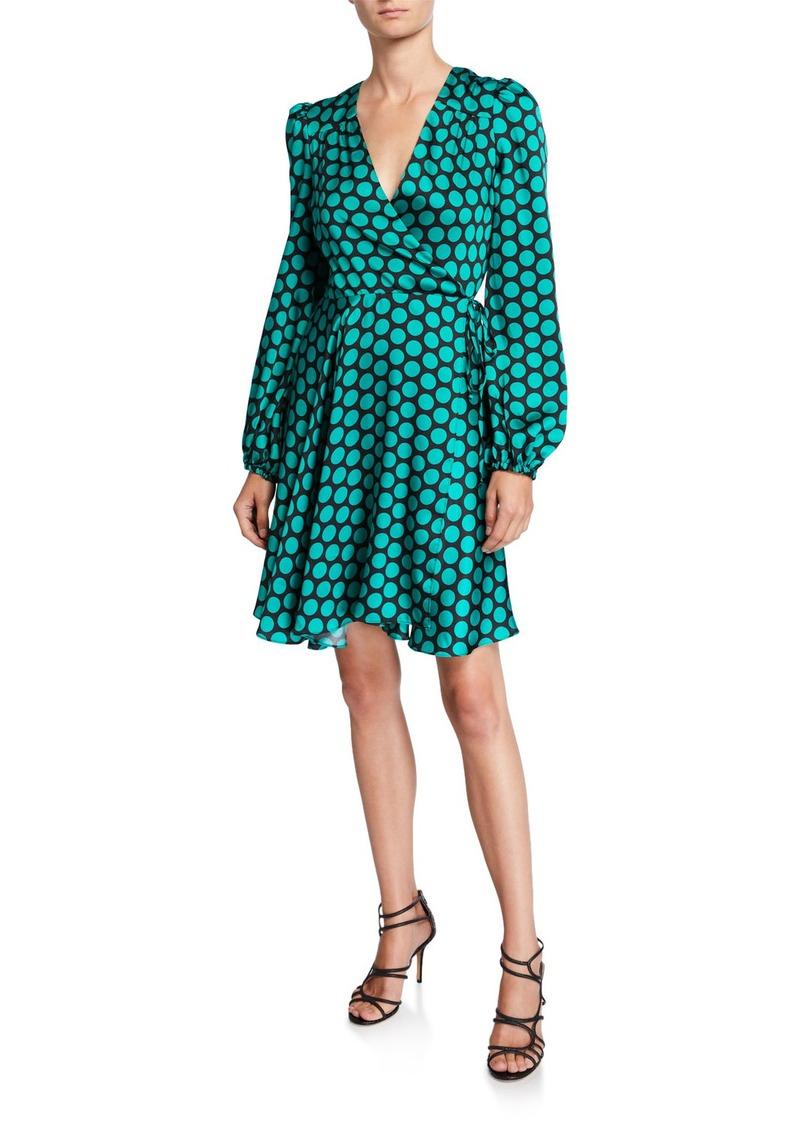 Milly Siena Dot Long-Sleeve Twill Wrap Dress