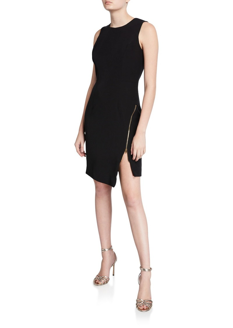 Milly Sleeveless Sustainable Cady Sheath Dress w/ Asymmetric Zipper