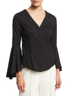 Milly Sofia Bell-Sleeve V-Neck Poplin Blouse