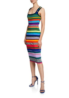 Milly Square-Neck Sleeveless Space-Dye & Rainbow Stripe Dress