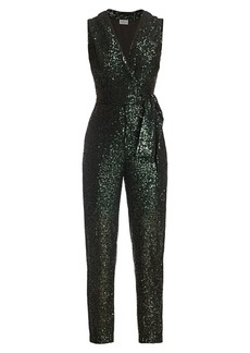 Milly Stretch Micro Sequins Tie-Blazer Jumpsuit