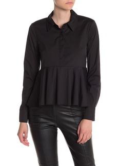 Milly Stretch Poplin Peplum Shirt