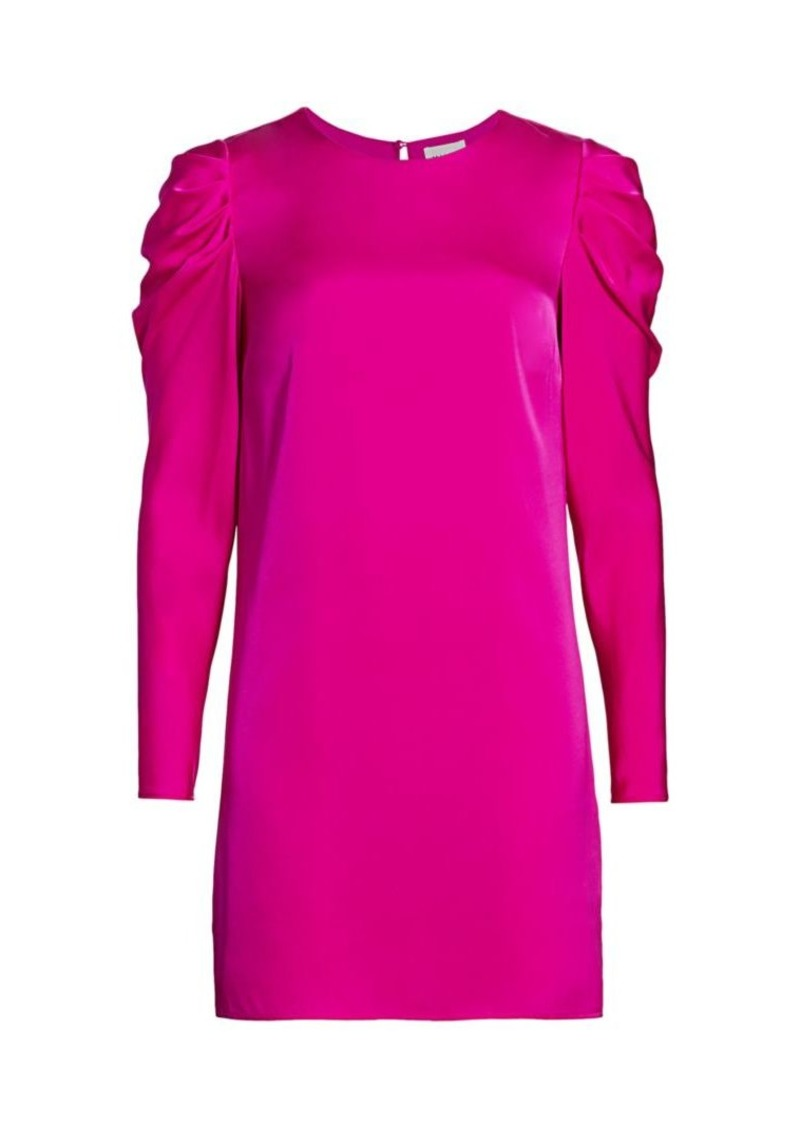 Milly Stretch Silk Carina Draped Long-Sleeve Dress