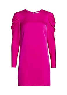 Milly Stretch Silk Carina Draped Long-Sleeve Dress