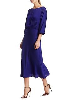 Milly Stretch Silk Dia Cowl-Back Midi Dress