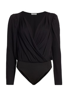 Milly Stretch Silk Michele Puff-Sleeve Bodysuit