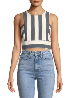 Milly Striped Button-Back Crop Top