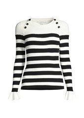 Milly Striped Button-Shoulder Ruffle-Cuff Top